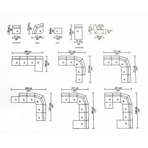 Méridienne module pour canapé composable tissu gris  - design contemporain - ORIGAMI