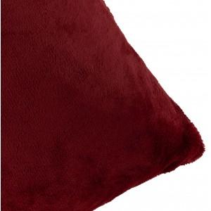 Housse de coussin rectangulaire rouge foncée effet polaire 40x60 cm - COZY
