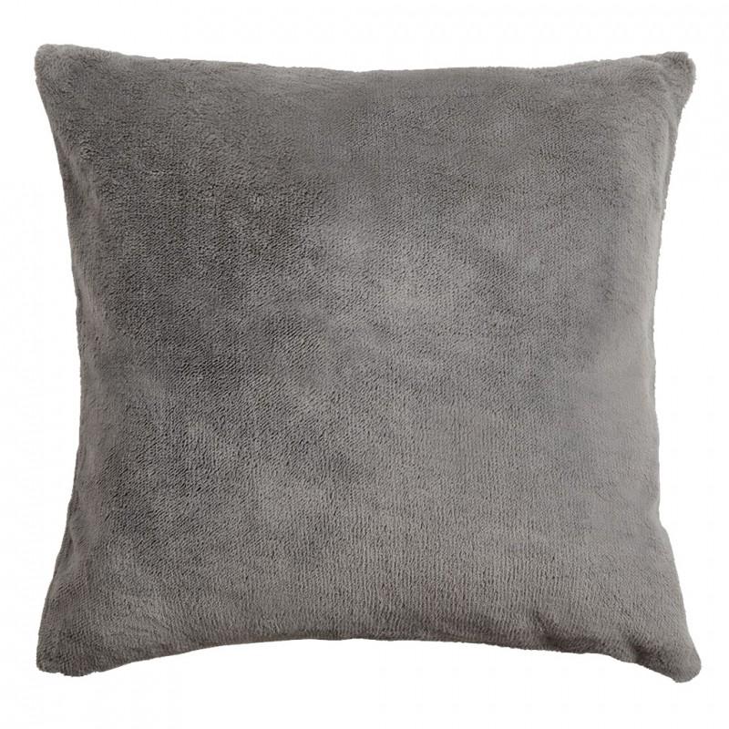 Petite housse de coussin carrée grise effet polaire 40x40 cm - COZY