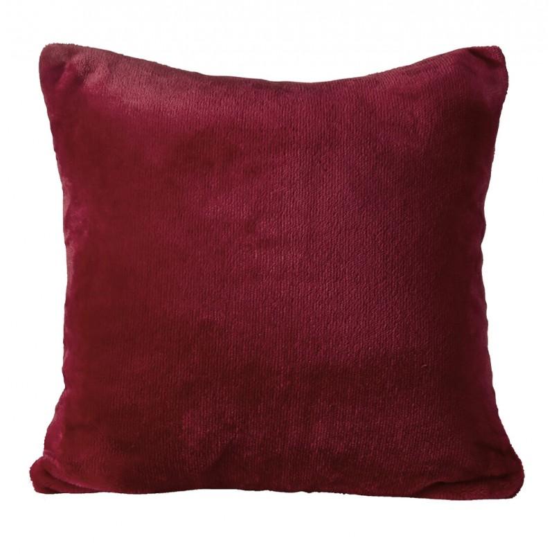 Petite housse de coussin carrée rouge foncée effet polaire 40x40 cm - COZY