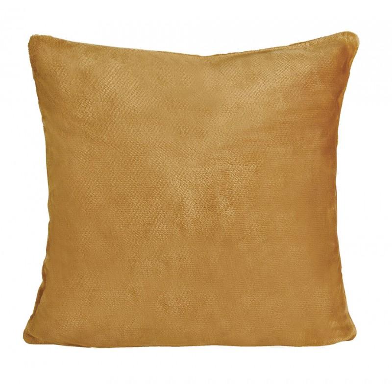 Petite housse de coussin carrée moutarde effet polaire 40x40 cm - COZY