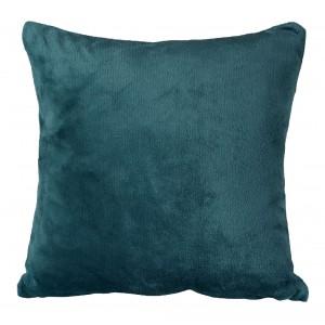 Petite housse de coussin carrée bleue effet polaire 40x40 cm - COZY