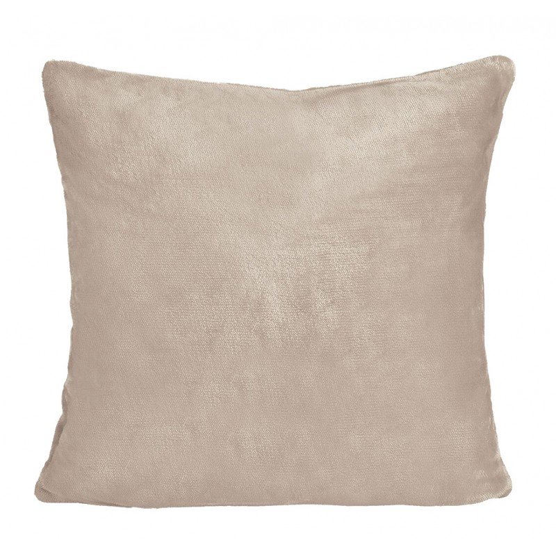 Grande housse de coussin rose pâle carrée effet polaire 65x65 cm - COZY