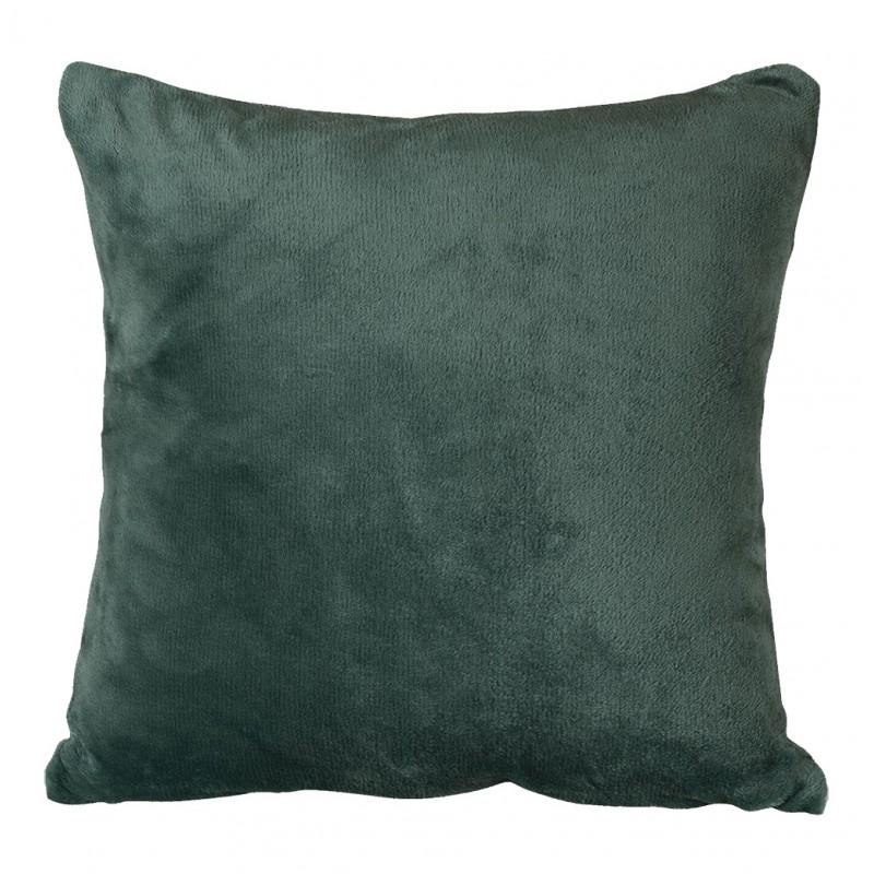 Grande housse de coussin carrée verte foncée effet polaire 65x65 cm - COZY