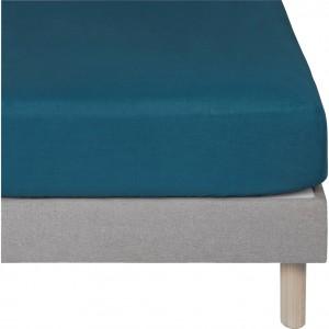 Drap housse bleu en lin lavé  90x140 - lit enfant et décoration chambre - Uzès