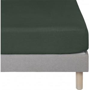 Drap housse vert en lin lavé 90x170 -lit enfant et décoration chambre - Uzès