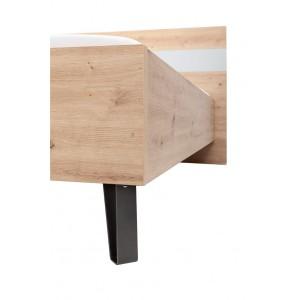Lit double 160x200 cm décor chêne clair et gris clair laqué - MILOS