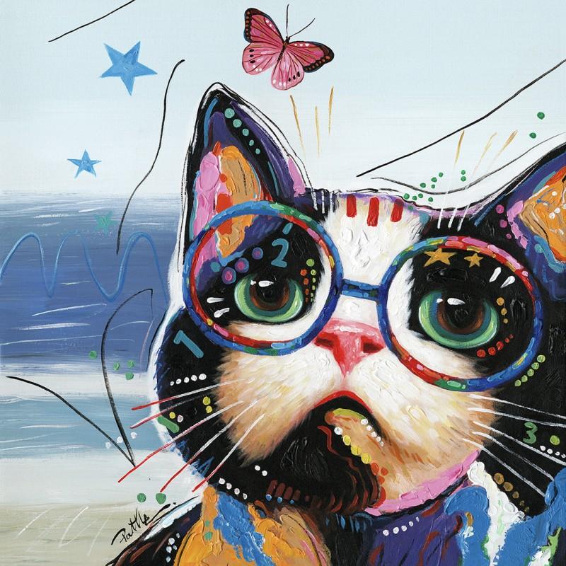Peinture sur toile multicolore carrée chat à lunettes - Cat