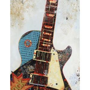 Peinture sur toile multicolore rectangulaire guitare - rock