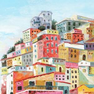 Peinture sur toile multicolore rectangulaire village - italie
