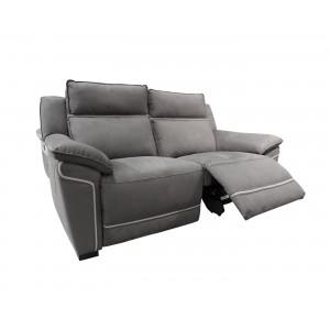 Canapé relaxation 2,5 places gris motorisé tissu suédine doux - Lucia