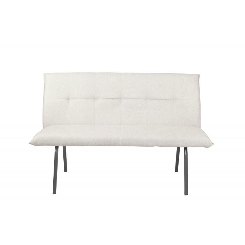 banquette chaise en tissu gris clair rembourrée confortable 3 places 143 cm - Lizzi