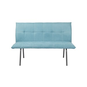 banquette chaise en tissu bleu rembourrée confortable 3 places 143 cm - Lizzi