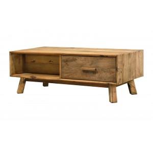 Table basse 2 tiroirs en pin recyclé - meuble déco montagne rustique - Collection CHALET