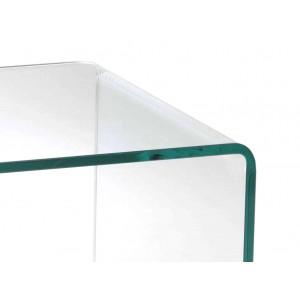 Meuble TV en verre transparent - plateau base roulante en bois décor chêne - design moderne - ICE
