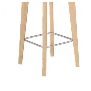 Chaise de bar scandinave en tissu marron et pieds bois - LEO