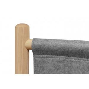 Lit 140x200 cm en bois de frêne et feutrine gris - AGDE 6599