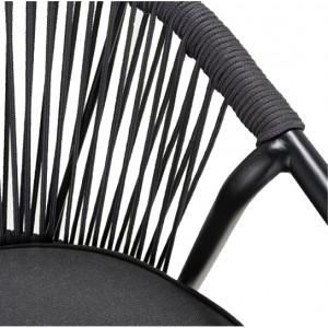 Lot de 2 chaises de jardin noir en aluminium avec corde et coussins - MONA 8442