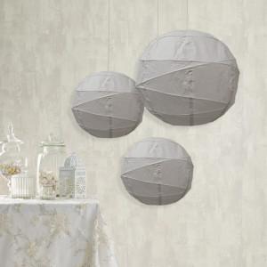 Lot de 4 lampions rond en papier de couleur gris et diamètre de 40 cm