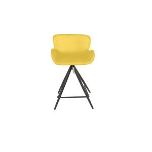 Chaise de bar en tissu velours jaune et pieds métal - LOTUS