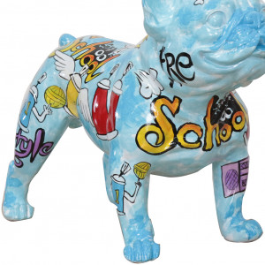 Statuette d'un chien en résine avec peinture multicolore - DOGGY BOOL
