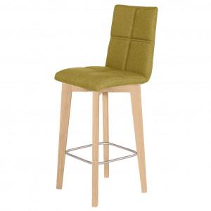 Chaise haute de bar au style scandinave en tissu vert avec piètement en chêne et repose pieds - LEO