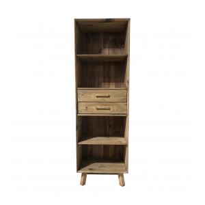 Bibliothèque chiffonnier 190 cm 4 niches 2 tiroirs pieds obliques bois pin recyclé - CHALET