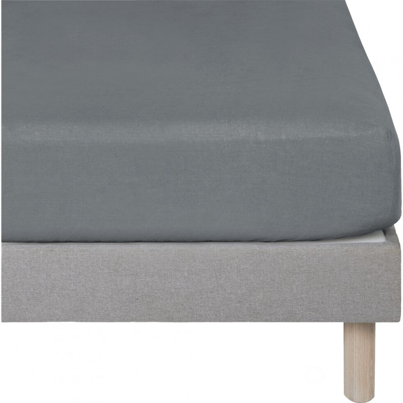 Drap housse en lin gris 90 x 200 cm et b28 cm - LIN 5868