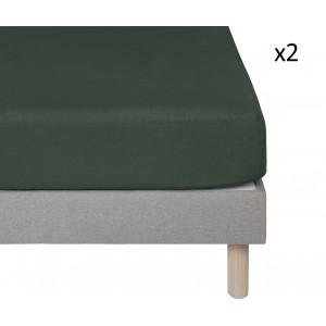 Lot de 2 draps housse vert foncé en lin lavé  90x140 - lit enfant et décoration chambre - Uzès