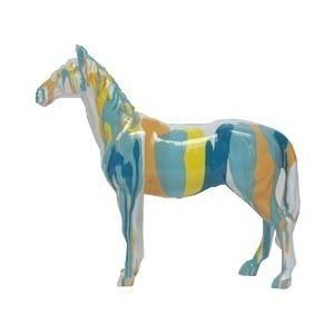 Statue cheval Bleu/jaune