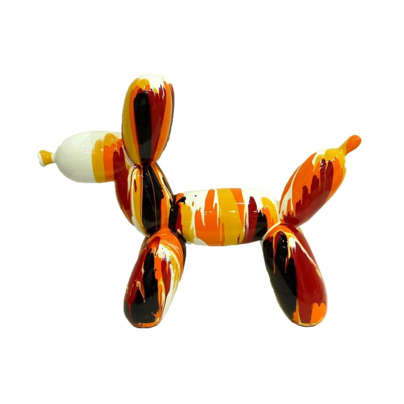 Reproduction d'art Balloon Dog multicolore tons orange en résine