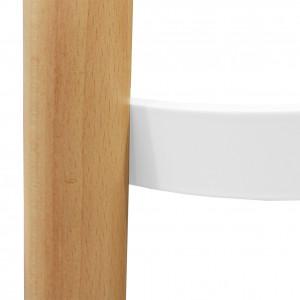 Table haute ronde blanche et pieds bois D.60 cm - STOOLY