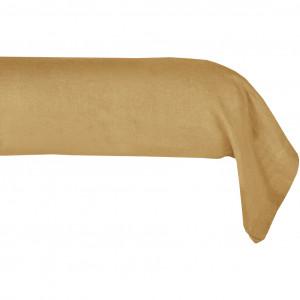 Taie de traversin en lin jaune ocre 45 x 190 cm - LIN 5240