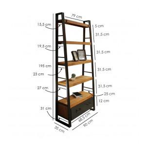 Bibliothèque inclinée 5 plateaux 1 tiroir - WORKSHOP