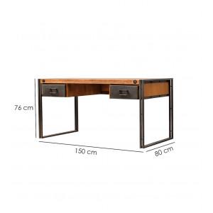 Bureau en acacia métal 2 tiroirs - WORKSHOP