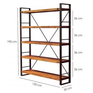 Bibliothèque métal & acacia 190 x 150 – WORKSHOP