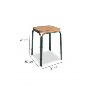 Lot 2 tabourets bois et métal style loft - WORKSHOP
