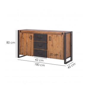 Buffet bois massif et métal 180cm - WORKSHOP