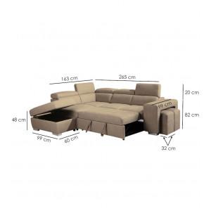 Canapé beige d'angle gauche convertible - VEGAS