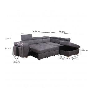 Canapé d'angle convertible droit gris - VEGAS