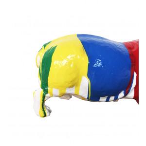 Hippopotame gueule ouverte décoration multicolore