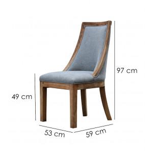 Chaise tissu gris en pin recyclé - CHALET