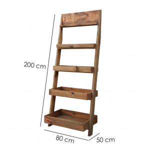 Bibliothèque échelle en bois hauteur 2m - CHALET