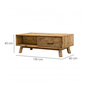 Table basse en bois 2 tiroirs hauteur 43 cm - CHALET