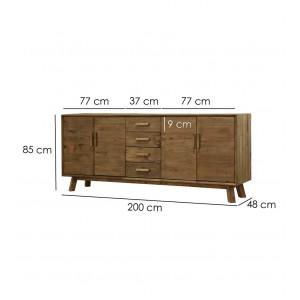 Buffet en bois 4 tiroirs 4 portes longueur 200 cm - CHALET