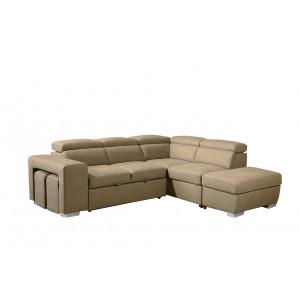 Canapé beige d'angle droit convertible en suédine - VEGAS