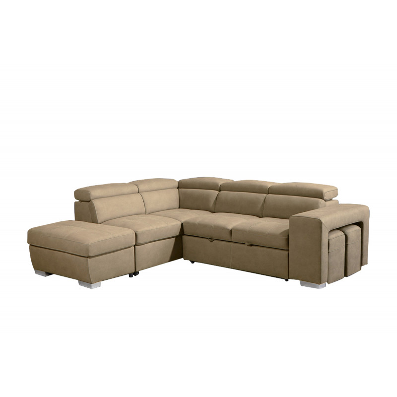Canapé beige d'angle gauche convertible en suédine - VEGAS