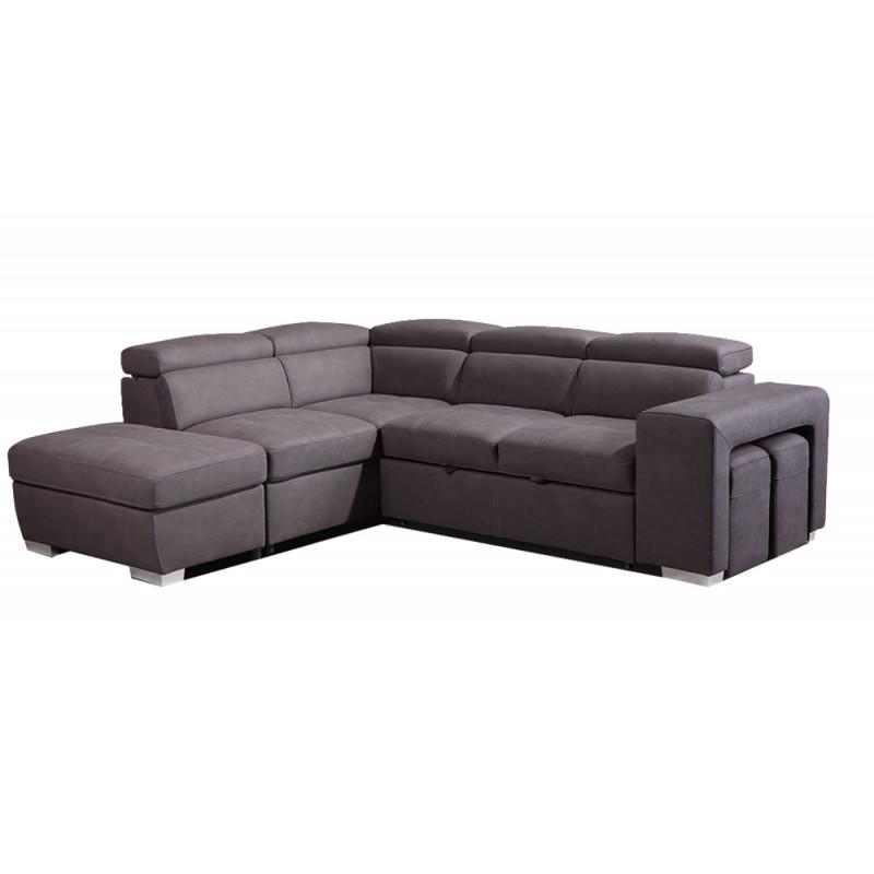 Canapé d'angle convertible gauche taupe - VEGAS