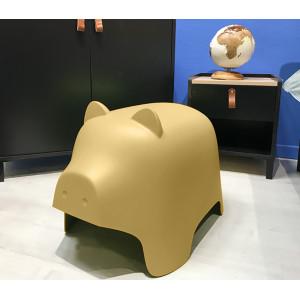 Chaise enfant en plastique jaune - COCHON