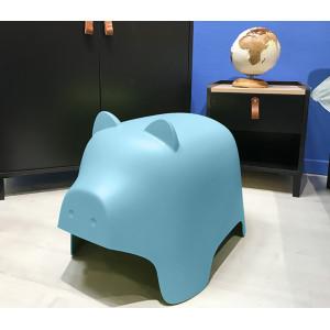 Chaise enfant en plastique bleu - COCHON
